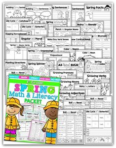 Teach addition, subtraction, sight words, phonics, grammar, handwriting and so much more with the Spring NO PREP Packet for First Grade!