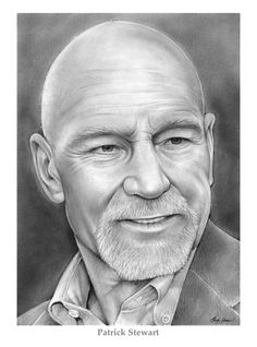Sir Patrick Stewart, OBE (born 13 July is an English film, television and stage actor, who has had a distinguished career on stage and screen. Cool Pencil Drawings, Amazing Drawings, Celebrity Drawings, Celebrity Portraits, Pencil Portrait, Portrait Art, Dark Crystal Movie, Drawing Stars, Patrick Stewart
