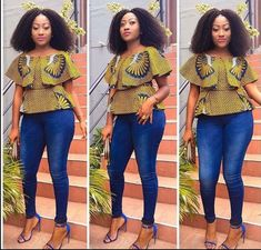 Creative Ankara Tops on Jeans for Beautiful Ladies.Creative Ankara Tops on Jeans for Beautiful Ladies African Fashion Designers, African Men Fashion, Africa Fashion, African Fashion Dresses, African Attire, African Wear, Ankara Fashion, African Style, African Design