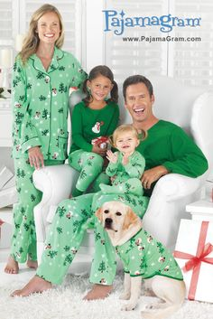 Let It Snow, Man! These adorable festive holiday PJs invite Jack Frost to bring it on and make wintertime a whole lot of fun for the entire family. www.PajamaGram.com