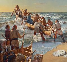 I don't have anything original to post so here is s Robert Griffing painting of a canoe launce in front of Ft. Michilimackinac 1 hour north of me Native American Paintings, Native American History, American Indian Art, American Indians, American Women, Westerns, Woodland Indians, Eskimo, Indian Artwork