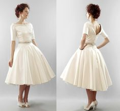 The Christy  silk duchess satin short wedding dress  Made to