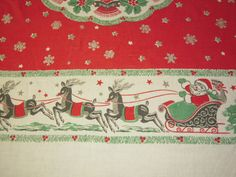 Vintage Christmas Tablecloth Santa in His by unclebunkstrunk, $89.99