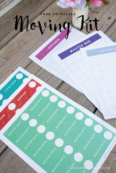 Get ready for your next big adventure with this free printable moving kit. Includes color coded labels and organization sheets that you can customize.