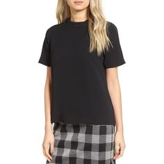 Women's Madewell Back Button Crepe Tee ($98) ❤ liked on Polyvore featuring tops, t-shirts, true black, madewell shirt, t shirt, shiny shirt, wet look top and madewell tee