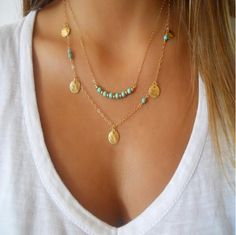 TX1209 Hot fashion simple gold and silver plated double chain turquoise beads sequins necklace for women best gift-in Chain Necklaces from Jewelry on Aliexpress.com | Alibaba Group