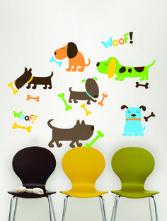 WallPops Puppy Love Dog Decals  We love puppy dogs! These dog wall decals make a fun theme for a kids room and come with lots of cute bones and WOOF stickers, too. #walldecals  #wallart  #peelandstick  #WallPops  #wallstickers  #decor  #DIY  #decorating