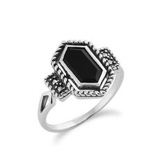 SImple geometric lines and symmetrical shapes define Gemondo's Art Deco inspired jewellery collection. Sterling Silver 1.00ct Black Onyx & 4.8pt Marcasite Art Deco Style Ring, £25. Available at: http://www.gemondo.com/p-21508-sterling-silver-100ct-black-onyx-48pt-marcasite-art-deco-style-ring.aspx
