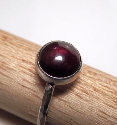Sterling silver and garnet cabochon ring  Emmy Bean