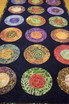 Modern Circle Table Runner Batik Table Runner Quilted by LyndiArt, $60.00