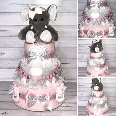"""Pink & Grey Elephant Nappy Cake, I'm in love with the girly glittering 'Baby Girl"""" Banner. This Gift includes: Huggies Newborn Nappies Flannelette Wraps Baby Blanket Newborn Socks Newborn Beanie Baby Head Band Plush Elephant Toy"""