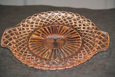 Pink Depression Glass Platter with Handles от CatkinsCreations