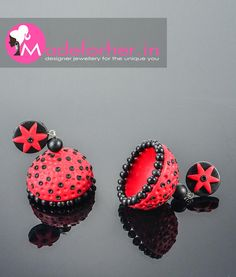 Buy jhumkas online, Order red colour polymer clay jhumka online at best price. Buy designer jhumkas for girls and women online. Shop custom designed red polymer clay jhumkas by Made For Her brand designed by Divya. Buy red jhumki online direct from manufacturer.