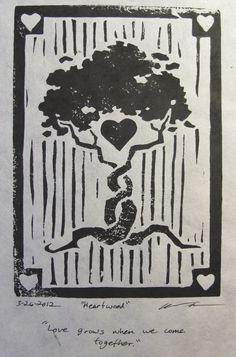 Heartwood Tree of Love Linoleum Block door RebeccaChungDesigns