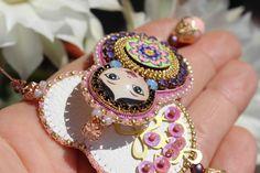 Matryoshka nesting doll, Babushka doll, Art doll, Embroidery earrings.  Embroidery high quality work by Fantasiria , on Etsy.