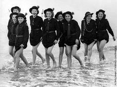Girls of the Manchester Regiment Church Girls Brigade (Rochdale Battalion) who were in camp at Bridlington, making the most of their holiday by the sea, in August Rochdale, Image Archive, Girl Guides, Black And White Pictures, British History, Girl Scouts, Picture Show, Manchester, Stock Photos