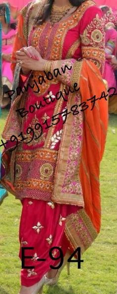 Dark pink and orange patiala suit - perfect for sangeet