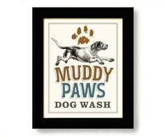 Laundry Room Decor Dog Art Bathroom Art Dog Paw Print by DexMex