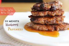 10 Minute Blueberry Pancakes (GF, Dairy Free, Egg Free, Nut Free) (w/ banana, shredded coconut, & coconut flower)