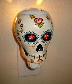 Day Of The Dead Dia de Los Muertos Sugar Skull Night Light Scent Warmer Wall
