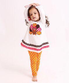 Look what I found on #zulily! White Turkey Top & Orange Leggings - Infant, Toddler & Girls #zulilyfinds
