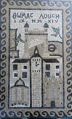 Wedding mosaic made for Thomas and Lucy. Read about why it includes a London tube station and why Big Ben is striking 2pm: http://helenmilesmosaics.org/mosaic-projects/bespoke-mosaic/