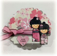 "Using stamps from our cling set, ""Enjoy Today"" Asian Cards, Dandelion Designs, Doll Party, Kokeshi Dolls, Japanese Design, Girl Day, Party Themes, Origami, Hello Kitty"