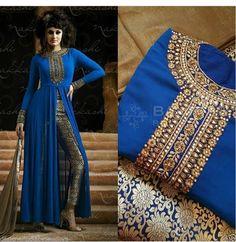 Blue designer bollywood indian pakistani salwar kameez stone dress jaquard pant  | Clothing, Shoes & Accessories, Cultural & Ethnic Clothing, India & Pakistan | eBay!