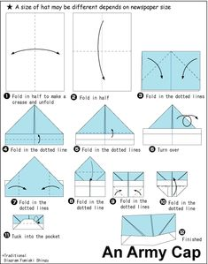Army cap paper hat origami #tutorial