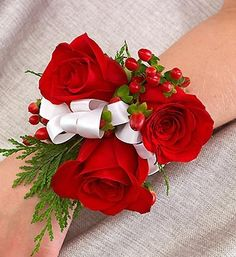 Corsage christmas wedding/ dance- smaller roses, champagne colored ribbon