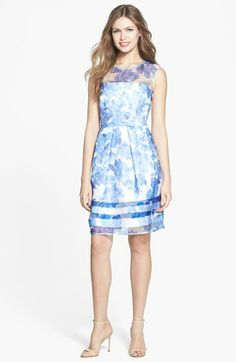 Taylor Dresses Floral Illusion Fit & Flare Dress available at #Nordstrom, $148