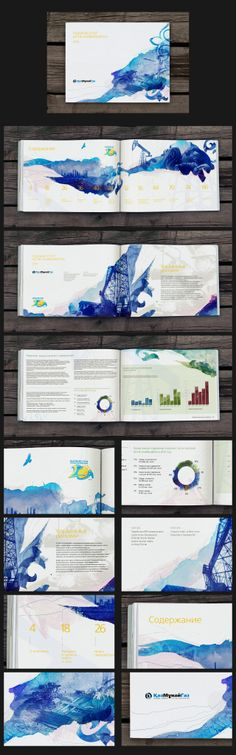 Annual report, the use of colour and shapes create the style of this whole book, graphic elements stay the same across the whole publication