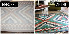 Rug Before and After-- a great way too fix my cheap throw rugs that fade. Patterson Square Red Indoor/Outdoor Area Rug Landscape Paintings For Living Room Decor - Painting Tutorial Videos Tulip Fabric Paint, Fabric Painting, Diy Painting, Interior Design Guide, Diy Interior, Floor Cloth, Floor Rugs, Painted Rug, Painted Furniture