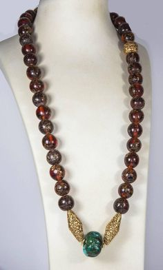 Antique Tibetan Natural Amber Turquoise and Gold Bead Necklace 3 • $3,500.00