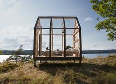 '72 hour cabin' by architecture student Jeanna Berger. The cabins are located on Henriksholm island, two hours north of Gothenburg, Sweden.