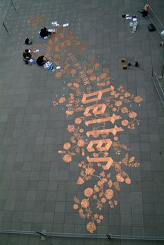 250,000 Shiny Eurocents Lined Up in Precise Public Art Calligraphy | Jeannie Huang