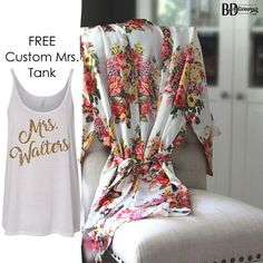 We give you so many options to create beautiful gifts for your wedding party. We offer options for our simply satin robes and floral robes. Need a certain color or have a special request? Just ask :) Dont forget we also offer bride & wedding party tanks and accessories! GET A FREE (PERSONALIZED MRS. TANK TOP) WHEN YOU ORDER 6+ OR MORE ROBES ♥ ♥ DETAILS ♥ ♥ 1. Pick from our 7 floral satin robes and 7 simply satin robes. Mix and Match. Need more? Bulk listings are below. 2. Be sure to p...