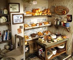 dollhouse bread shop The Bakery -Vintage Country small bread shop-handmade Dollhouse Miniatures Vitrine Miniature, Miniature Rooms, Miniature Kitchen, Miniature Crafts, Miniature Houses, Miniature Furniture, Dollhouse Furniture, Home Furniture, Plywood Furniture
