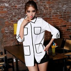 Western Color Contrast Pocket White Blouse