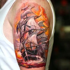 Bright and Intense Realistic Tattoos by Dongkyu Navy Tattoos, Sailor Jerry Tattoos, Boat Tattoos, Ship Tattoos, Tatoos, Sea Tattoo, Tattoo Art, Pirate Tattoo, Arm Sleeve Tattoos