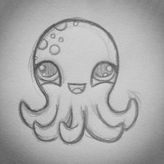 Cute octopus drawing The post Cute octopus drawing appeared first on Woman Casual - Drawing Ideas Easy Pencil Drawings, Cute Easy Drawings, Simple Disney Drawings, Simple Animal Drawings, Animal Sketches Easy, Pencil Sketching, Tumblr Drawings Easy, Disney Pencil Drawings, Crayon Drawings