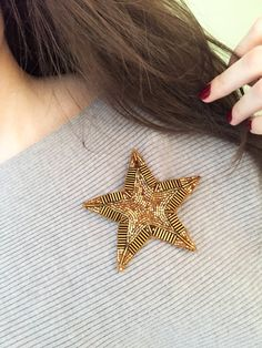 Items similar to Star brooch Стильная Брошь звезда on Etsy Tambour Embroidery, Bead Embroidery Jewelry, Textile Jewelry, Hand Embroidery, Embroidery Designs, Beaded Jewelry, Jewellery, Brooches Handmade, Handmade Jewelry