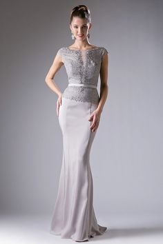 Sheath Shape Floor Length Prom and Evening Gown has Ornate Embellished Bodice has Cap Sleeves, Bateau Neckline and Zipper Closure on the Back, Dress also has Solid Color Long Skirt with Slight Train.