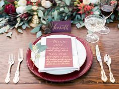 Marsala & gold tabletop, holiday table top, red and green centerpiece, leaf garland, eucalyptus runner, fall tabletop, burgundy and gold and copper -Rachel Solomon Photography Blog   Marsala and Gold Tabletop Inspiration   http://blog.rachel-solomon.com