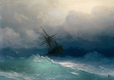 """ Marine Art of Ivan Konstantinovich Aivazovsky "" … This Century Russian Armenian artist is noted for the translucent waves in his paintings. Rudolf Von Alt, Stürmische See, Sea Storm, Storm Clouds, Henri Fantin Latour, Russian Painting, Russian Art, Stormy Sea, Seascape Paintings"