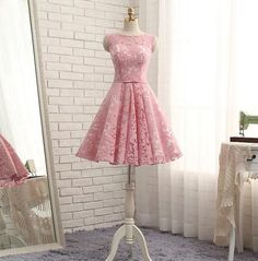 White a line lace short prom dress, homecoming dresses Silhouette: A-line Fabric: Tulle Neck:O neck Back detail: Lace-up Size: XS,S, M, L, XL,XXL Size: Custom size: Any size XS Bust 77 cm Waist 60 cm S Bust 80 cm Waist 63 cm M Bust 86 cm Waist 70 cm L Bust 90cm Waist 73 cm XL Bust 93