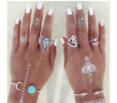 8 Pcs/ Set Bohemian Punk Ring Set Tibet Silver Gypsy Boho Elephant Snake Turquoise Natural Stone Ring