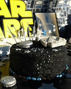 Cake Inspiration for a Star Wars Themed Party - perfect for birthdays for adults or kids, or for a Star Wars movie watching party! Get details for this cake and more Star Wars Party dessert and decor inspiration now at fernandmaple.com!