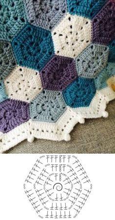 Crochet Motif Patterns, Granny Square Crochet Pattern, Crochet Diagram, Crochet Squares, Crochet Chart, Crochet Designs, Knitting Patterns, Crochet Quilt, Tapestry Crochet