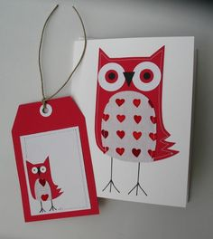More Owls for Valentines (Stitched Card and Tag)